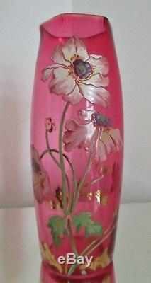 Grand Vase Art Nouveau Verre Émaillé Rouge Aux Anémones Legras 1900