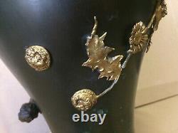 Grand Vase Art Nouveau en métal patiné et doré Epoque 1880 1900