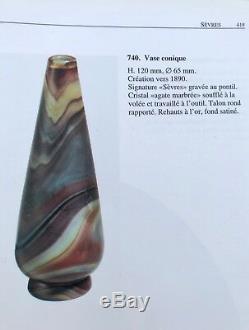 Grand Vase Sevres Japonisant Art Nouveau En Pate De Verre Cameo Glass Circa 1890