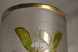 Grand Vase Verre Emaille Ancien Art Nouveau Antique Enameled Glass Gui