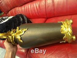 Grand vase Art Nouveau bronze doré papillon libellule 44cm