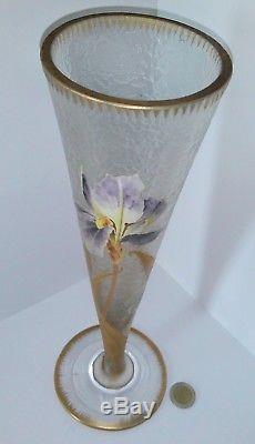 Grand vase Montjoye Legras forme conique décor iris travail acide Or art nouveau
