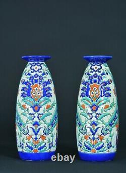 Grand vase ancien Art Nouveau Boch Frères BFK Keramis Email D69 Isnik Turc X 2