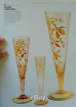 Grand vase cornet émaillé or taillé et guilloché Montjoye Legras art nouveau