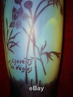 Grand vase cristallerie de Pantin époque Gallé, Daum, Legras art nouveau