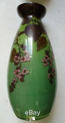 Grand vase émaillé de mûres Art Nouveau 1900 Legras signé Jem H 35 cm