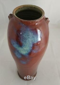 Grand vase oblong signé / grès émaillé rouge sang / DALPAYRAT SEVRES CHAPLET