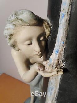 Grand vase statue sculpture terre cuite art nouveau A DE RANIERI décor femme gui