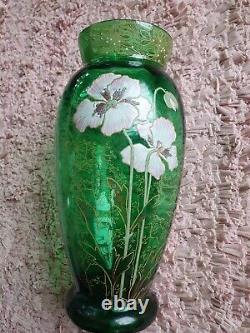 Grand vase verre émaillé Legras décor de pavots art nouveau art déco