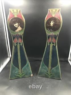 Grands Vases Art Nouveau faience polychrome Plateelbakkerij Zuid-Holland Gouda