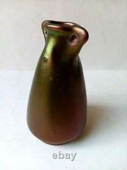 Gres art nouveau Vase Montieres Irisé Au Scarabée
