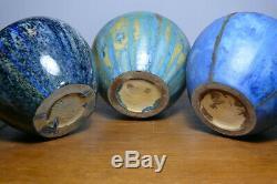 Grès de Pierrefonds Art Nouveau Magnifique série de trois vases