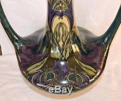 Gros Vase Art Nouveau En Ceramique De Zuid Holland Jugenstil