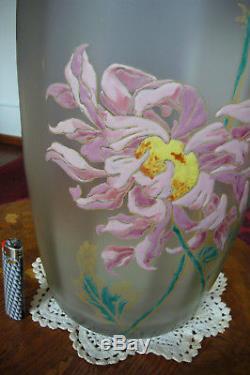 Gros vase art nouveau LEGRAS MONTJOYE DALHIAS. 48 CMS