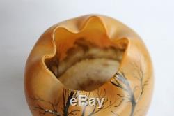 Gros vase boule émaillé Legras Art nouveau verrerie (32726)