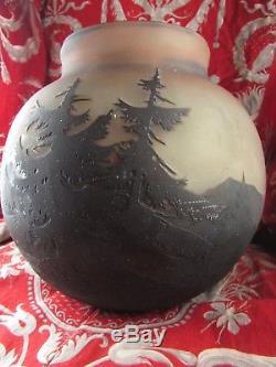Gros vase boule pate de verre acide muller freres ep art nouveau 1900 paysage