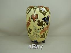 Important Magnifique Vase Ancien En Faience KG Luneville Vers 1900 Fleurs Styli