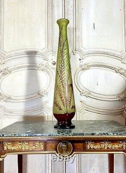 Important Vase Gallé Aux Fougères, Hauteur 62 Cm, Pate De Verre Art Nouveau