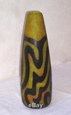 Important vase DEGUE Pâte Verre PARIS art nouveau 39 CM NO DAUM MULLER Gallé