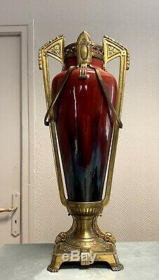 Important vase époque Art nouveau en céramique vernissée et bronze doré h 56CM