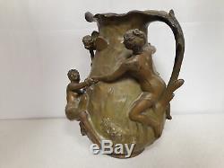 Jean GARNIER grand vase art nouveau en régule teinte Bronze Nymphes des Airs