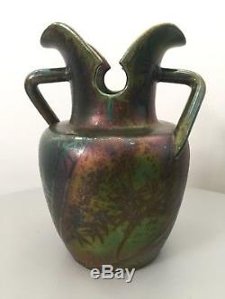 Jérome Massier Vallauris, superbe rare vase en céramique irisée, Art Nouveau