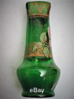 Joli Vase Art Nouveau, émaillé, décor floral, Legras, montjoye