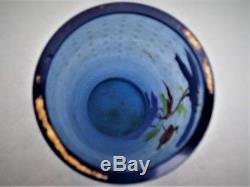 Joli Vase Art Nouveau givré, émaillé, décor floral, Legras, montjoye