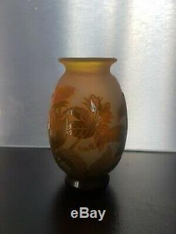 Joli Vase Gallé 3 Couleurs Art Nouveau Dégagé Acide 1900 Old Vase Gallé No Copy