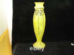 Joli vase Legras, pâte de verre, jaune et noir, 34 cm
