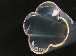 Jugendstil Iris Verre Emaillé Art Nouveau Vase Bleu Antique Glass Enamel Legras