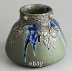 LAtelier Pratique Vase Art Nouveau Grès et étain France, circa 1900