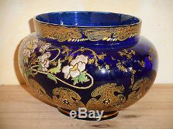LEGRAS. ART NOUVEAU. Vase ou Jardinière en verre émaillé. Vers 1900