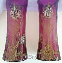 LEGRAS Paire de Vase décor aux chardons violet ART NOUVEAU