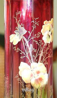 LEGRAS VASE ART NOUVEAU en verre de 31 CM, rare et splendide, émaillé de pensées