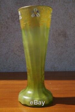LEGRAS VASE Émaillée floral vert époque art nouveau hauteur 23 cm