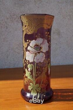 LEGRAS VASE Émaillée floral violet époque art nouveau hauteur 26 cm