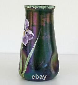 LOETZ / POSCHINGER Vase Verre Irisé Emaillé Iris Art Nouveau Jugendstil 1900