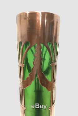 LÖTZ KRALIK, beau vase irisé et cuivre, Sécession Viennoise, 1900 Art Nouveau