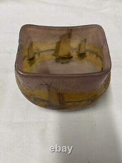 Legras Ancien Vase Pte De Verre Dégage À Lacide Décor De Bateaux Art Nouveau