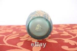 Legras Mont Joye Vase artistique avec verre vert givré Art Nouveau marqué