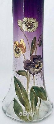 Legras / Montjoye / Beau Vase En Verre Emaillé Diris En Relief Art Nouveau 1920
