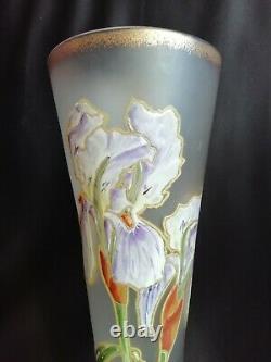 Legras Paire de vases émaillés à décor d'Iris sur fond givré Art nouveau