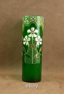 Legras Vase Ancien En Verre Émaillé A Decor De Fleurs Art Nouveau