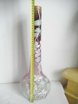 Legras, grand vase émaillé, art nouveau, blanc et violet, forme arabe. HT 51 cm