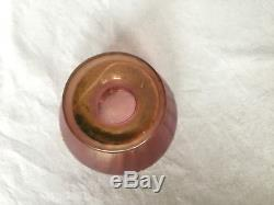 Loetz Petit Vase Coupe 1900 Emaille Fond Rose Rehaut De Dorure Art Nouveau C978
