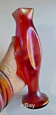 Loetz Rouge Irisé d'or, haut Vase Verre Art Nouveau