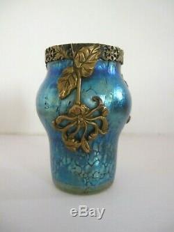 Loetz Superbe petit vase irisé Monture dorée Végétale Art Nouveau 1900 Autriche