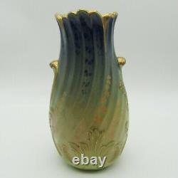 Lunéville. Lachenal. Vase art nouveau en faïence décor de fleurs, deb XXe siècle