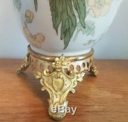 Luneville Paire de vases Art Nouveau monture bronze doré empire signée